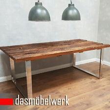 Esstisch Massivholz Tisch Holz Edelstahl Industrie Design Shabby 220cm AF2040