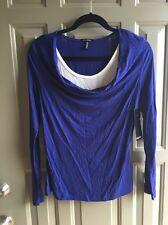 NWT Daisy Fuentes Blouse Top Color Blue Long Sleeve Size M Petite
