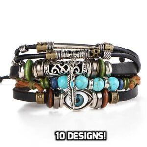 Mens Adjustable Genuine Leather Bracelet Bangle Wristband Punk Cuff Beaded GIFT