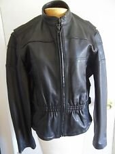 Ladies Naked Skin Thick Heavy Black Leather Motorcycle Jacket Large ElasticBack