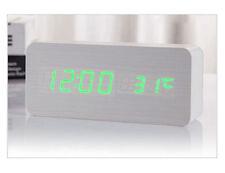 New Voice Control Calendar Thermometer Wooden LED Digital Alarm Clock USB/AAA UK