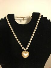 """VINTAGE SIGNED MIRIAM HASKELL PEARL HEART NECKLACE 16"""""""