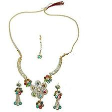 fcdcbf97e1ba Set Bollywood Parineeti multicolor con brazaletes bindis joyas India moda  sari