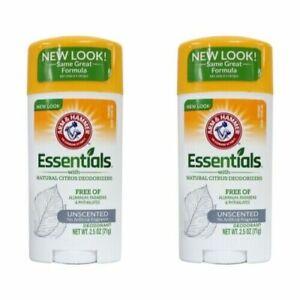 Arm & Hammer Essentials Unscented Natural Deodorant - 2.5 Oz - 2 Count