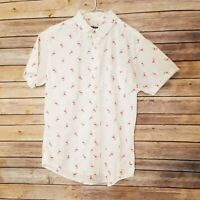Urban Pipeline Women's White Camp Shirt with Flamingos Shirt Size M EUC