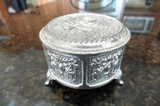 Vintage Trinket Jewelry Box With Roses Silver Plated Footed Red Fabric Lined