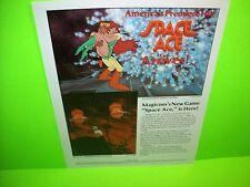 SPACE ACE Laser Game Original 1983 NOS Video Arcade Promo Sales Flyer RARE Ed.