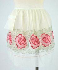 Vintage White Sheer Embroidered Floral 1/2 Apron Retro Kitchen Pocket Wrap Tie