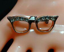 Vintage Miniture Cat Eye Glasses Pin Rhinestone Gold Tone Brooch Claw Clasp