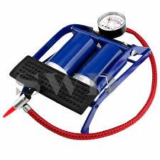 Double Barrel Cylinder Foot Pump Air Pressure Gauge Tyre Inflator Car Motorbike