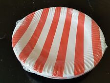 20 x red stripe paper disposible plates 23cm for all occasion
