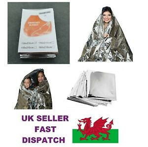 Emergency Foil Blanket LARGE Size 2.1m x 1.3m  First Aid Camping Sensory Aid