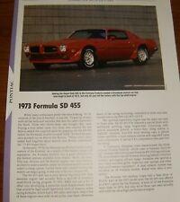 ★★1973 PONTIAC FORMULA SD455 SPECS INFO PHOTO 73 SD 455★★