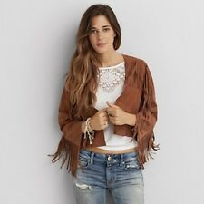 American Eagle Outfitters AEO Brown Fringed Goat Suede Leather Fringed Jacket L