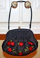 Talbots Embroidered Black Silk Handbag Embroidered Red Flowers