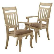 Set of 2 Formal Dining Arm Chairs Medium Wood Trimmed Cream Upholstered Seat