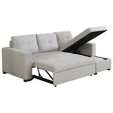 GRAY LINEN LIKE REVERSIBLE STORAGE SOFA SLEEPER SECTIONAL LIVING ROOM FURNITURE