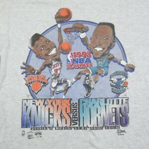 Vintage 90's NBA New York Knicks vs Charlotte Hornets T shirt Gray Cotton Tee