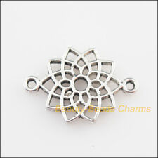 12Pcs Tibetan Silver Tone Flower Lotus Charms Connectors 14x20mm