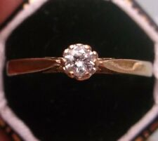 Ladies Diamond Solitaire Ring Vintage 9ct Gold Size P Stamped Weight 2g