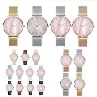 Women Seashell Leather/Stainless Steel Mesh Wrist Watch Lady Quartz Wristwatches