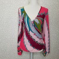 VOOM by Joy Han Cold Shoulder Bell Sleeve Wrap Blouse Size Small