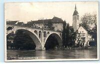 *Bridge Tower Clock Bremgarten Switzerland Aargau Vintage Photo Postcard C83