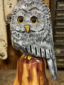 WHITE OWL Chainsaw Carving RED CEDAR WOODEN Owl Statue ORIGINAL Folk Art