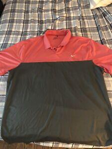 Nike Mens Golf Shirt Coral And Gray XXL
