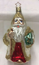 """Old World Merck """"Santa white/gold� Christmas Ornament Blown Glass New w/out Tag"""