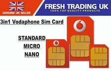 Vodaphone Pay As You Go 3in1 Sim Card - Standard/Micro/Nano - Buy 1 Get 1 Free