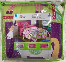5pc PONY Bed In A Bag Pink Dot HORSEY Comforter Sham Twin Sheet Set