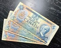 1979 $5 BANK OF CANADA LOT OF 3 NOTES - CIRCULATED COND.