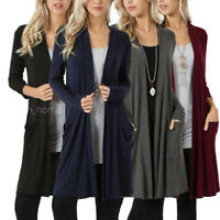 Women's Cardigan Duster Long Sleeve Sweater Jumpers Coat Jacket Plus Size 3-5XL