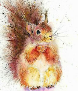 Fine Art Print of RED SQUIRREL watercolour by HELEN APRIL ROSE   505