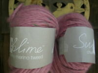 Disc ~ Sublime Chunky Merino Tweed ~ #240 Dilly ~ Rose Pink W/ Multi Color Slubs