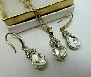 Vintage style gold plate clear rhinestone necklace earring set  Art Deco insp