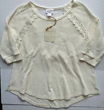 NWT Women's Wrangler Marshmallow 3/4 Short Sleeve Lack Back Knit Top Large New