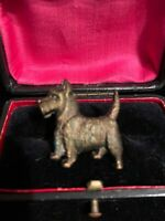 Lovely Bronze Tone Early Plastic 1950s Dog Brooch Broach