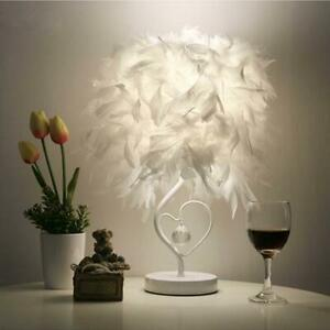 Bedside Table Lamp Heart Shape White Feather Crystal Soft Light