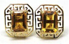 EMERALD CUT HONEY CITRINE EARRINGS, 14K YELLOW GOLD, GREEK KEY DESIGN
