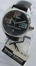 Neu Bruno Banani Herrenuhr Magic Retro Sport Lederband Schwarz 99,00 #BR20528