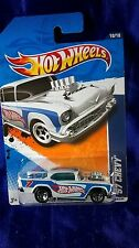 Hot Wheels '57 Chevy White #7 Diecast HW Racing '11 Engine Stuck Out Of Hood