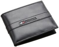 New Tommy Hilfiger Men's Ranger Leather Passcase Bifold Billfold Wallet - Black