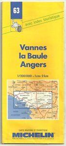 """Carte Touristique Michelin """" Vannes, La Baule, Angers """"1/200000  - N°63"""