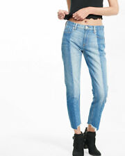 EXPRESS 6 Mid Rise Raw Hem Pieced Original Girlfriend Jeans women's crop