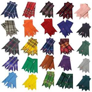 HS Scottish Kilt Hose Sock Flashes Garters Pointed Various Tartans Highland Wear