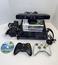 Microsoft Xbox 360 E Console 250GB + 2 Controllers + 7 Games Kinect and Cables