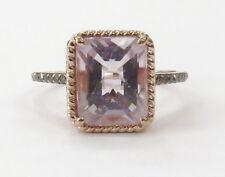 14k Rose Gold Pink Stone Chocolate Diamond Ladies Ring ~3.4g