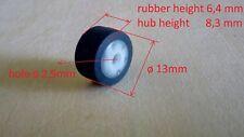 Pinch roller for deck boombox 13 mm (diameter) 8,3 mm (hub) 2,5 mm (hole)
